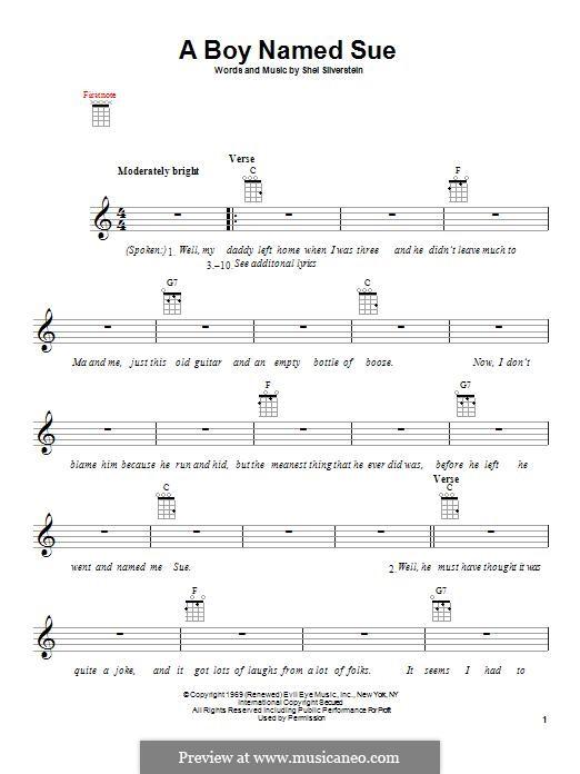 A Boy Named Sue (Johnny Cash): Für Ukulele by Shel Silverstein