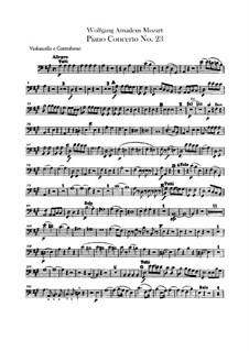 Konzert für Klavier und Orchester Nr.23 in A-Dur, K.488: Cello- und Kontrabass-Stimme by Wolfgang Amadeus Mozart