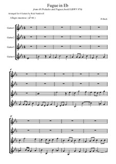 Präludium und Fuge Nr.7 in Es-Dur, BWV 876: Fugue, for quartet guitar by Johann Sebastian Bach