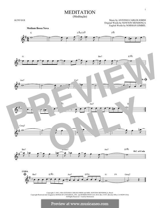 Meditation: Für Altsaxophon by Antonio Carlos Jobim