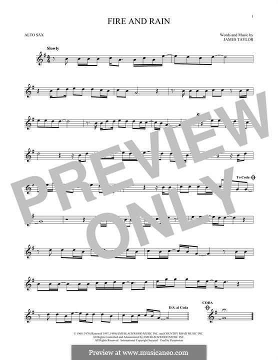 Fire and Rain: Für Altsaxophon by James Taylor