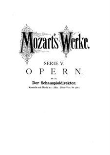 Der Schauspieldirektor, K.486: Ouvertüre by Wolfgang Amadeus Mozart
