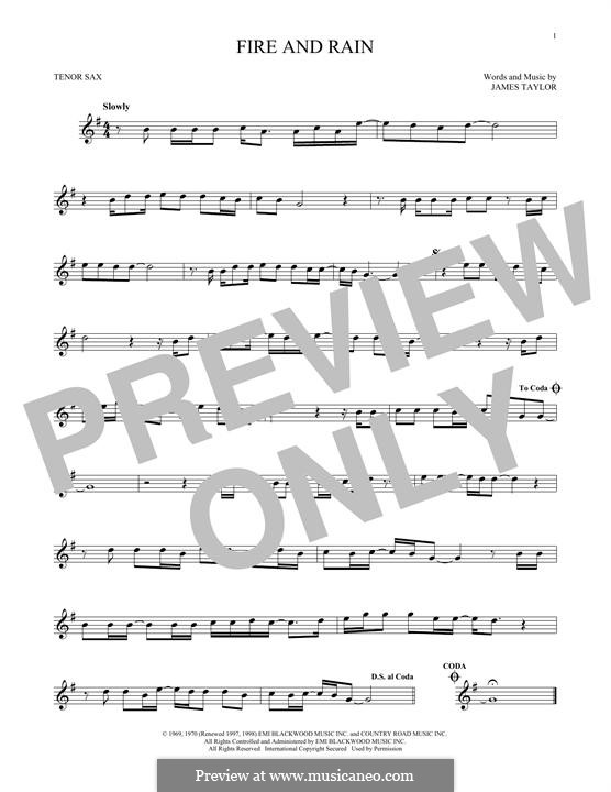 Fire and Rain: Für Tenorsaxophon by James Taylor