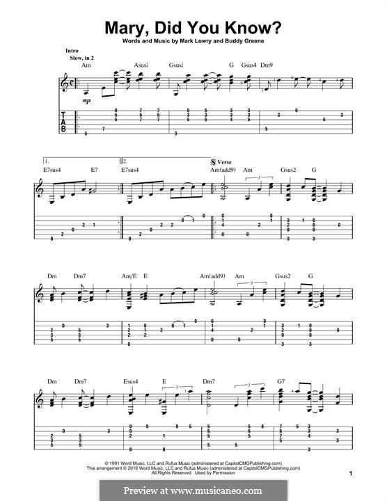 Mary Did You Know?: Für Gitarre mit Tabulatur by Bud Green