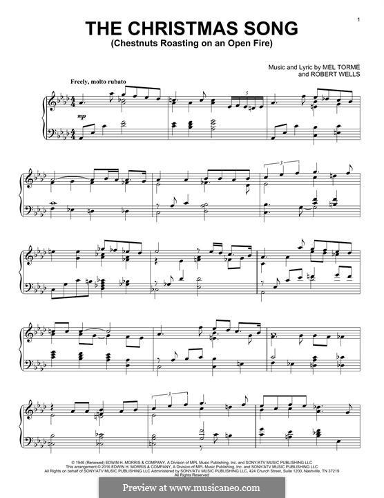 The Christmas Song (Chestnuts Roasting on an Open Fire), for Piano: Für einen Interpreten by Mel Tormé, Robert Wells