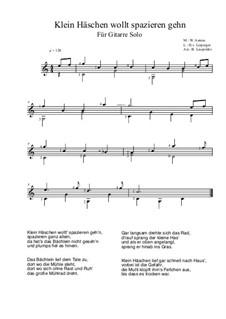 Klein Häschen wollt spazieren gehn: For guitar solo (C Major) by Wilhelm Asmus