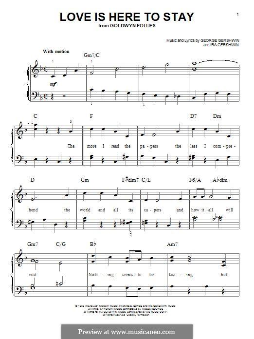 Love is Here to Stay: Für Klavier by George Gershwin