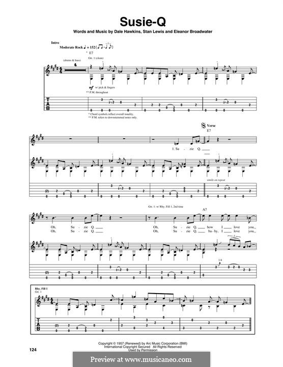 Susie-Q (Creedence Clearwater Revival): Für Gitarre mit Tabulatur by Dale Hawkins, Eleanor Broadwater, Stan Lewis