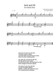 Jack and Jill: For guitar solo (A Major) by folklore