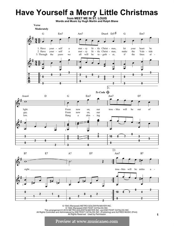 Have Yourself a Merry Little Christmas: For guitar with lyrics by Hugh Martin, Ralph Blane