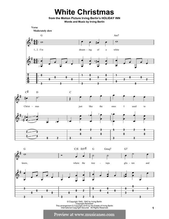 White Christmas. Instrumental version: For guitar with lyrics by Irving Berlin
