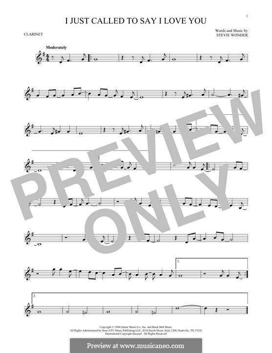 I Just Called to Say I Love You: Für Klarinette by Stevie Wonder