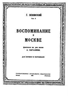 Souvenir de Moscou for Violin and Piano, Op.6: Partitur, Solostimme by Henryk Wieniawski