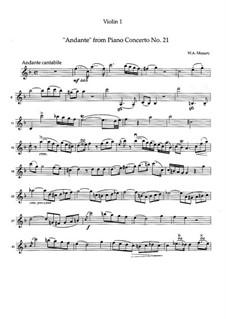 Konzert für Klavier und Orchester Nr.21 in C-Dur, K.467: Movement II. Version for string quartet by Wolfgang Amadeus Mozart