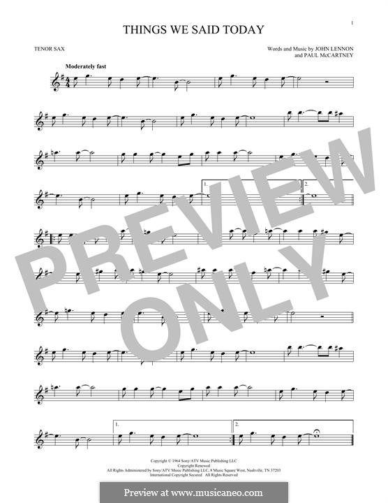 Things We Said Today (The Beatles): Für Tenorsaxophon by John Lennon, Paul McCartney