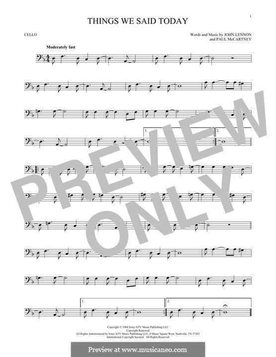 Things We Said Today (The Beatles): Für Cello by John Lennon, Paul McCartney