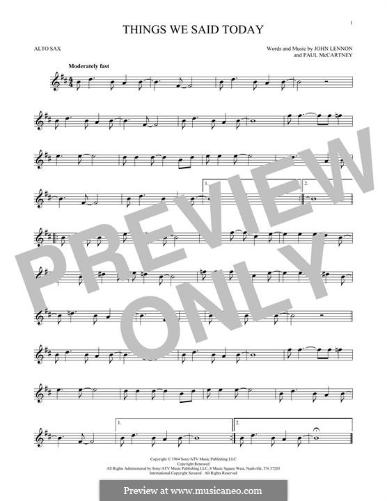 Things We Said Today (The Beatles): Für Altsaxophon by John Lennon, Paul McCartney