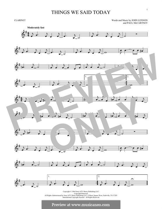 Things We Said Today (The Beatles): Für Klarinette by John Lennon, Paul McCartney