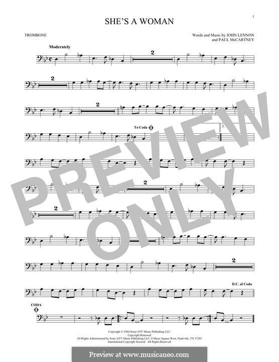 She's a Woman (The Beatles): For trombone by John Lennon, Paul McCartney