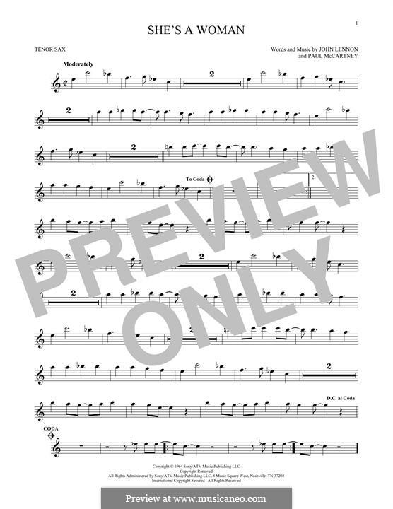 She's a Woman (The Beatles): Für Tenorsaxophon by John Lennon, Paul McCartney