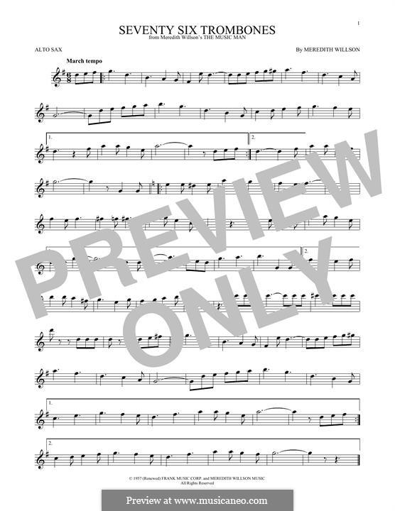 Seventy Six Trombones: Für Altsaxophon by Meredith Willson