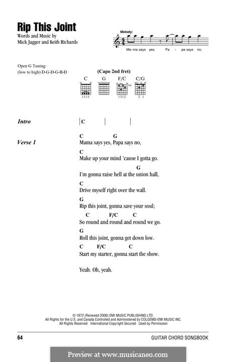 Rip This Joint (The Rolling Stones): Text und Akkorde by Keith Richards, Mick Jagger