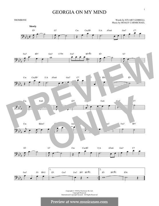 Georgia on My Mind: For trombone by Hoagy Carmichael