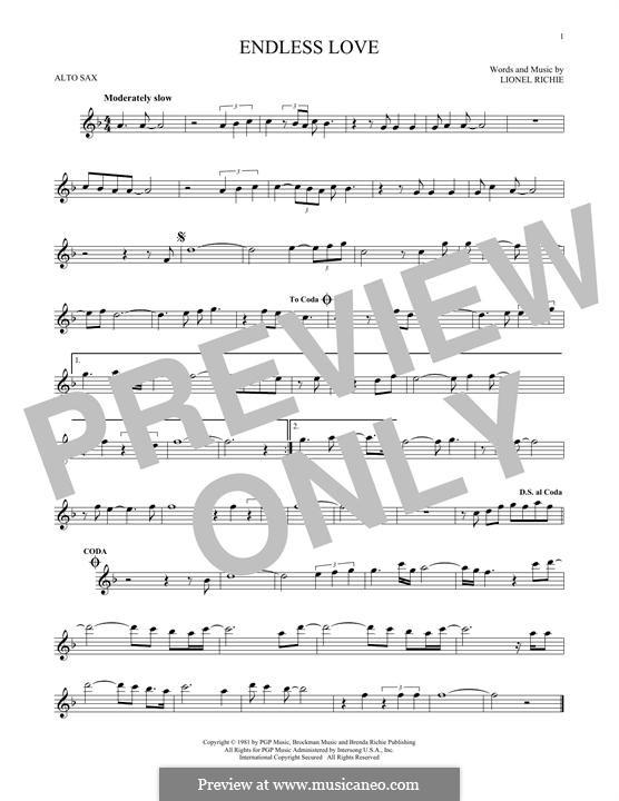 Endless Love: Für Altsaxophon by Lionel Richie