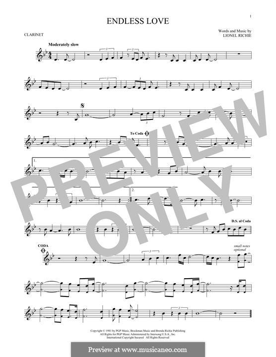 Endless Love: Für Klarinette by Lionel Richie
