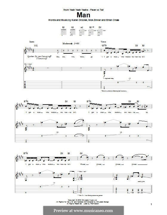 Man (Yeah Yeah Yeahs): Für Gitarre mit Tabulatur by Brian Chase, Karen O, Nicholas Zinner