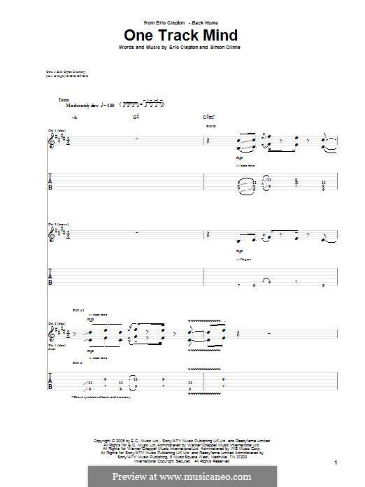 One Track Mind: Für Gitarre mit Tabulatur by Eric Clapton, Simon Climie