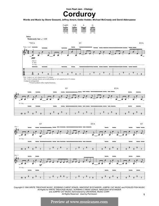 Corduroy (Pearl Jam): Für Gitarre mit Tabulatur by David Abbruzzese, Eddie Vedder, Jeff Ament, Mike McCready, Stone Gossard