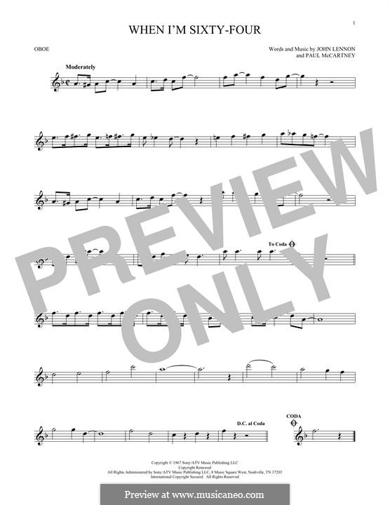 When I'm Sixty-Four (The Beatles), for One Instrument: For oboe by John Lennon, Paul McCartney