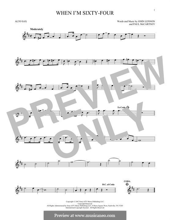 When I'm Sixty-Four (The Beatles), for One Instrument: Für Altsaxophon by John Lennon, Paul McCartney