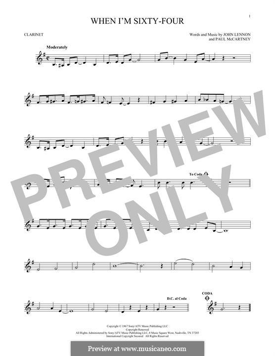 When I'm Sixty-Four (The Beatles), for One Instrument: Für Klarinette by John Lennon, Paul McCartney
