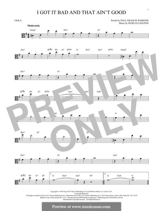 I Got It Bad and That Ain't Good: For viola by Duke Ellington