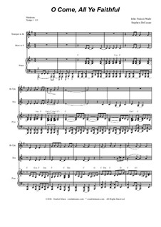 Herbei o ihr Gläubigen: Duet for Bb-trumpet and french horn by John Francis Wade