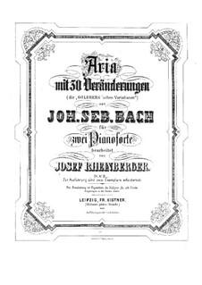 Goldberg-Variationen, BWV 988: Bearbeitung für zwei Klaviere, vierhändig by Johann Sebastian Bach