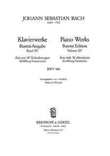 Goldberg-Variationen, BWV 988: Bearbeitung für Klavier von F. Busoni by Johann Sebastian Bach