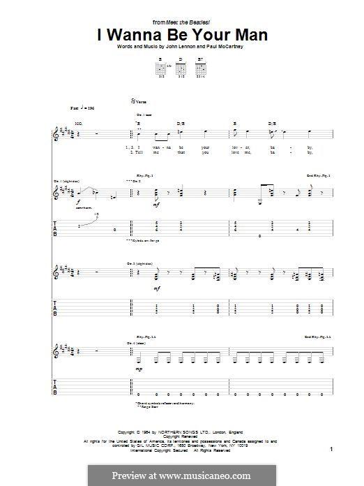 I Wanna Be Your Man (The Beatles): Für Gitarre mit Tabulatur by John Lennon, Paul McCartney