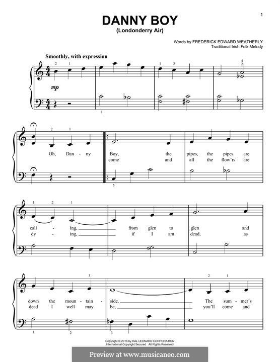 Danny Boy (Londonderry Air) Printable Scores: Für Klavier, leicht by folklore