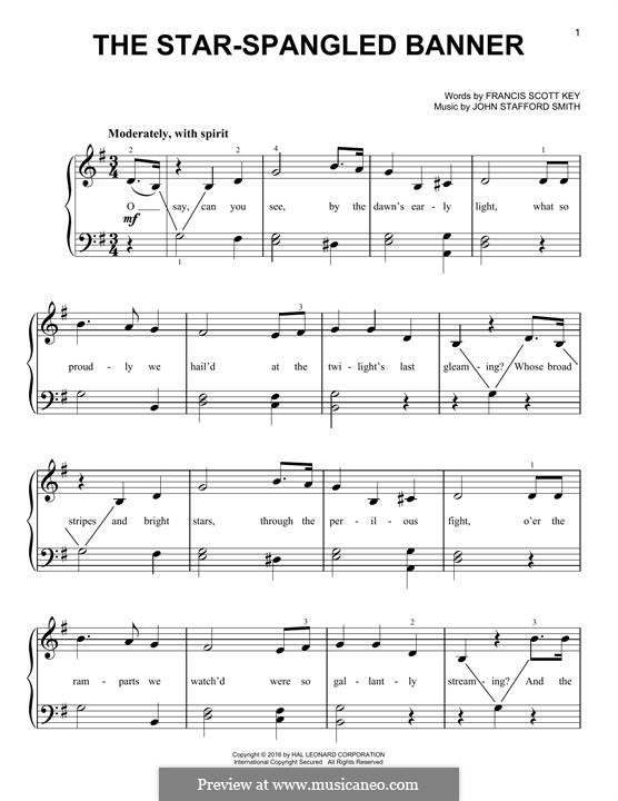 The Star Spangled Banner (National Anthem of The United States). Printable Scores: Für Klavier by John Stafford Smith