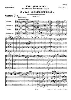 Streichquartett Nr.9 in C-Dur, Op.59 No.3: Partitur by Ludwig van Beethoven