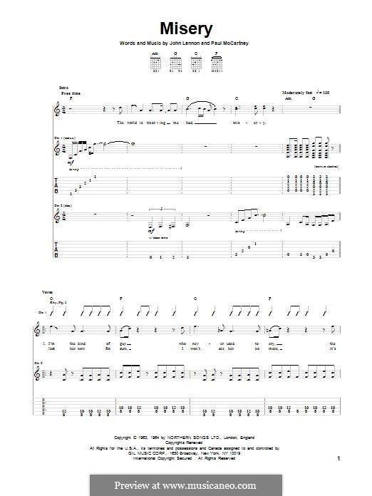 Misery (The Beatles): Für Gitarre mit Tabulatur by John Lennon, Paul McCartney