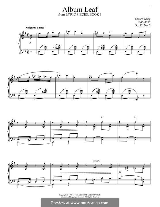 Lyrische Stücke, Op.12: No.7 Album Leaf by Edvard Grieg