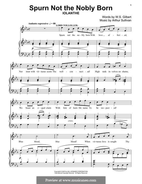 Spurn not the Nobly Born: Für Klavier by Arthur Sullivan