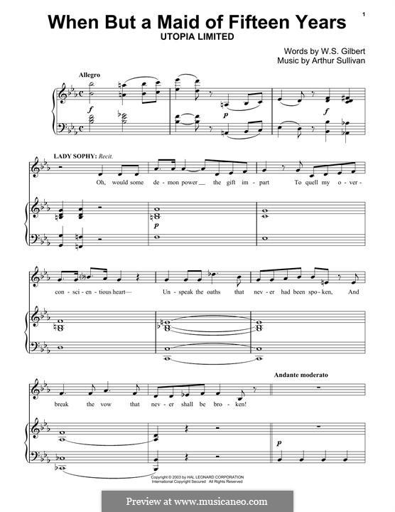 When But a Maid of Fifteen Years: Für Klavier by Arthur Sullivan