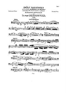 Zwölf Variationen über 'Die Zauberflöte' von Mozart, Op.66: Cellostimme by Ludwig van Beethoven