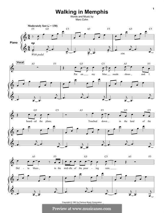 Walking in Memphis: Für Stimme und Klavier (oder Gitarre) by Marc Cohn