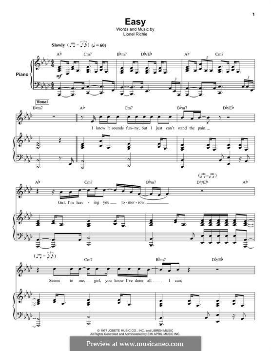 Easy (The Commodores): Für Stimme und Klavier (oder Gitarre) by Lionel Richie